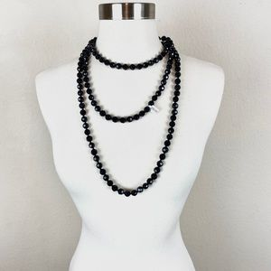 Black Beaded Layering Necklace